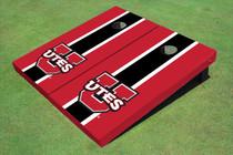 University Of Utah 'UTES' Black And Red Matching Long Stripe Custom Cornhole Board
