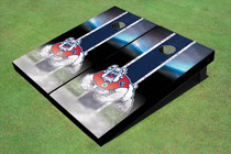 Fresno State Bulldog Field Long Strip Matching Navy Blue Custom Cornhole Board