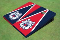 Fresno State Bulldog 'Dog Face' Alternating Triangle Custom Cornhole Board