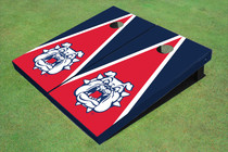 Fresno State Bulldog 'Dog Face' Red And Navy Blue Matching Triangle Custom Cornhole Board