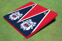 Fresno State Bulldog 'Dog Face' Navy Blue And Red Matching Triangle Custom Cornhole Board