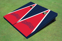 Fresno State Bulldog 'Word Mark' Red And Navy Blue Matching Triangle Custom Cornhole Board