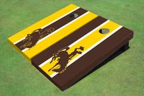University Of Wyoming Cowboys Alternating Long Stripe Custom Cornhole Board