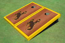 University Of Wyoming Cowboys Gold Rosewood Matching Borders Custom Cornhole Board