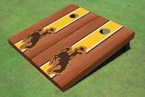 University Of Wyoming Cowboys Gold Rosewood Matching Long Stripe Custom Cornhole Board