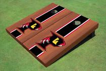 "Orlando Predators ""P"" Rosewood Black Matching Long Stripe Cornhole Boards"