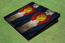 Rustic Colorado State Flag Custom Cornhole Board