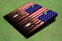 American Flag Deer Skull Themed Cornhole Boards