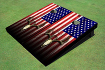 Custom American Flag Deer Skull Custom Cornhole Board