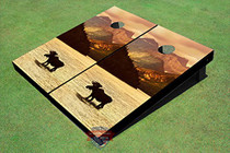 Moose In Water #3 Custom Cornhole Board