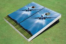 Turning Airplane Custom Cornhole Board