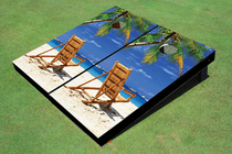 Beach Chair Facing Right Custom Cornhole Board
