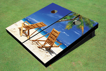 Beach Chairs Facing Each Other Custom Cornhole Board