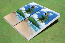 Tropical Beach Custom Cornhole Board