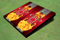 Metal Maltese Cross Custom Cornhole Board Set