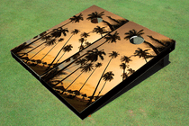 Palm Sun Set Custom Cornhole Board