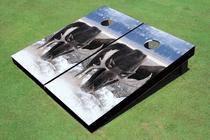 Moose In Snow Custom Cornhole Board