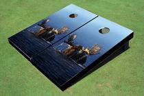 Moose In Lake Custom Cornhole Board