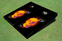Skull with Flames Custom Cornhole Board