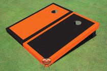 Black And Orange Alternating Border Custom Cornhole Board