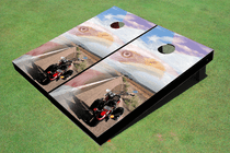 Biker With Eagle Custom Cornhole Board