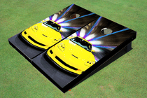 Yellow Corvette Custom Cornhole Board