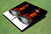 On Fire Custom Cornhole Board