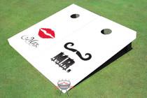 Mr. & Mrs. Wedding White Cornhole Board Set