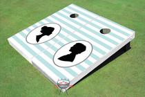 Striped Pattern Wedding Custom Cornhole Board