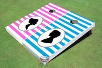 Striped Pattern Wedding Custom Cornhole Board - AAT-1554
