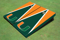 University Of Miami Green And Orange Matching Triangle Custom Cornhole Board