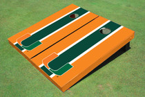 University Of Miami Green And Orange Matching Long Stripe Custom Cornhole Board