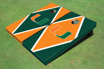 University Of Miami Alternating Diamond Custom Cornhole Board