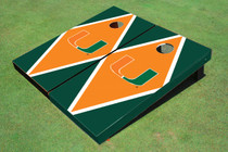 University Of Miami Orange And Green Matching Diamond Custom Cornhole Board