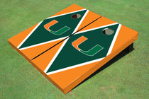 University Of Miami Green And Orange Matching Diamond Custom Cornhole Board