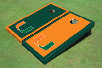 University Of Miami Alternating Border Custom Cornhole Board