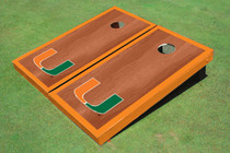 University Of Miami Orange Rosewood Matching Border Borders Custom Cornhole Board