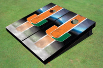 University Of Miami Field Long Strip Matching Orange Custom Cornhole Board