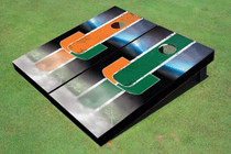 University Of Miami Field Long Strip Alternating Custom Cornhole Board