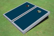 Navy And Gray Matching Border Custom Cornhole Board