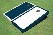 White And Navy Alternating Border Custom Cornhole Board