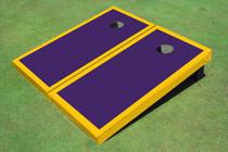 Purple And Yellow Matching Border Custom Cornhole Board