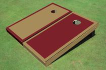Dark Gold And Maroon Alternating Border Custom Cornhole Board