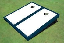 White And Navy Matching Border Custom Cornhole Board