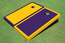 Purple And Yellow Alternating Border Custom Cornhole Board