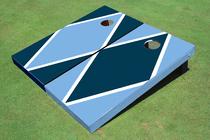 Unc Blue And Navy Alternating Diamond Custom Cornhole Board