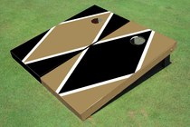 Black And Gold Alternating Diamond Custom Cornhole Board