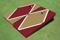 Dark Gold And Maroon Alternating Diamond Custom Cornhole Board