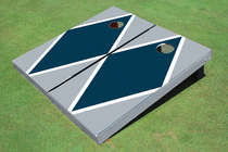 Navy And Gray Matching Diamond Custom Cornhole Board