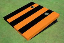 Black And Orange Alternating Long Stripe No Stripe Custom Cornhole Board